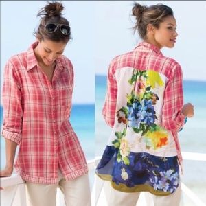 Soft Surroundings Kaolin Pink Plaid Floral Shirt